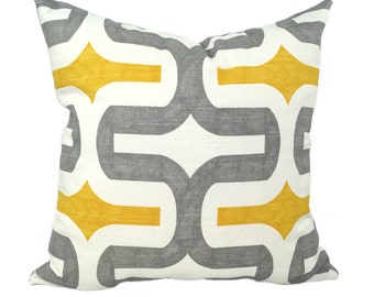 Gray and Yellow Pillow - Yellow Geometric Pillow Cover - Gray Accent Pillow - Embrace Storm and Corn Yellow Pillow - Gray and Yellow Pillow