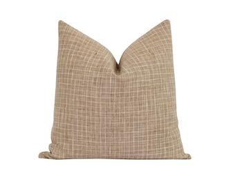 Small Check Pillow Cover, Burlap Woven Pillow Cover, Small Plaid Pillow Cover, Fall Decorative Pillow Cover, Double Sided Woven Pillow Cover