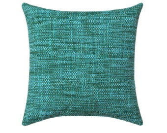 18x18 Solid Teal Outdoor Pillow Cover, Teal Accent Pillow Cover, Patio Pillow Cover, Outdoor Zippered Pillow Case READY TO SHIP
