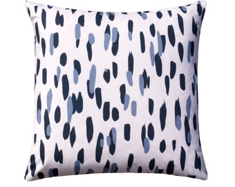 Blue Dots Pillow Cover // Blueberry Modern Dots Throw Pillow // Blue Brushstroke Accent Cushion Cover // Madcap Cottage Collection