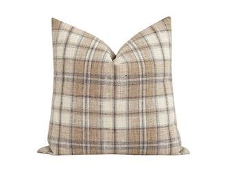 Neutral Woven Pillow Cover, Cream Beige Brown Tartan Pillow, DOUBLE SIDED Designer Pillow Cover, 18 20 22 Farmhouse Pillow Cover, Tan Pillow