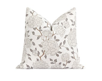 Double Sided Floral Pillow Cover, Neutral Decorative Pillow Cover, Greige Floral Blooms Pillow Cover, Designer Decorative Linen Pillow Case