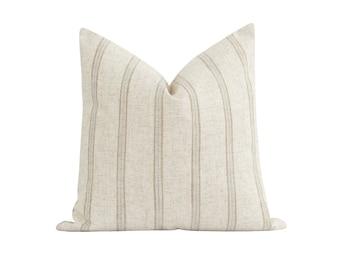 Sandstone Stripe Pillow Cover, Farmhouse Pillow Cover, Double Sided Designer Pillow Cover, Sand, Grey and Natural Decorative Pillow