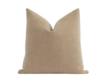 Woven Pillow Cover, Graham Cracker Solid Color Pillow Case, 16 18 20 22 Double Sided Designer Pillow, Neutral Cushion Cover, Solid Woven