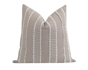 Neutral Décor Pillow, White Fringe and Taupe Pillow Cover, DOUBLE SIDED Designer Pillow, Embroidered Pillow Cover, Mini Tassels Pillow Cover