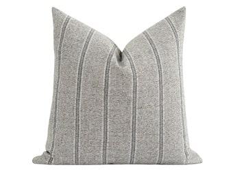 Zinc Stripe Pillow Cover, Double Sided Designer Pillow Cover, Grey Stripe Pillow, 20x20 Modern Farmhouse Woven Pillow Cover, Neutral Pillow