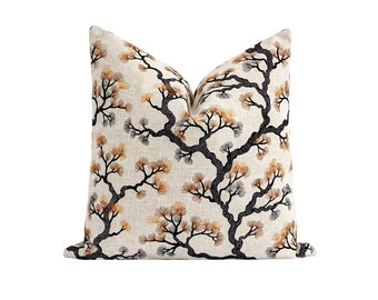 """20"""" Fall Pillow Cover, Embroidered Pillow Cover, Ornamental Tree Pillow Cover, Rust Orange Grey Black Pillow Cover, Double Sided Pillow Case"""