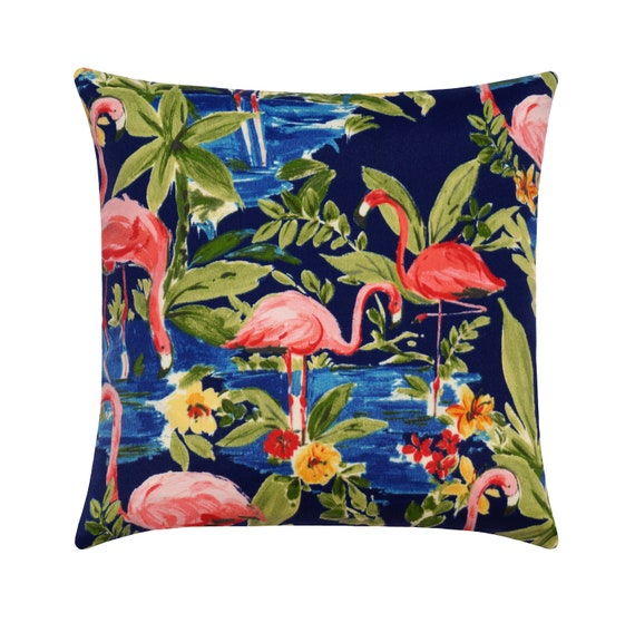 Flamingo Outdoor Pillow Cover Navy Green Pink Pillow Cover Etsy