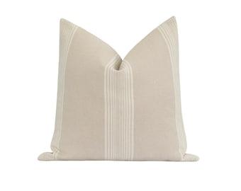 18 20 22 DOUBLE SIDED Pillow Cover, Cabana Stripe Natural Pillow Cover, Natural and Cream Stripe Pillow, Modern Farmhouse Decorative Pillow