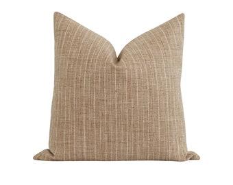 Woven Pillow Cover, Burlap Pinstripe Pillow Cover, Farmhouse Decorative Pillow, Stripe Pillow Cover, 18 20 22 Neutral Toss Pillow Cover