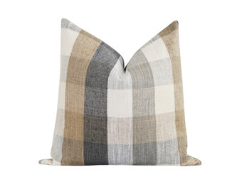 Fall Pillow Cover, 18 20 22 Farmhouse Plaid Pillow Cover, Grey Tan Charcoal Beige Ivory Plaid, Woven Pillow Cover, Modern Farmhouse Pillow