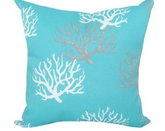 Aqua Outdoor Pillow Cover, Aqua Blue Coral Pillow, Outdoor Pillow Cover, Blue Patio Pillow, Aqua Pillow, Pillow Cover, Beach Decor, Nautical