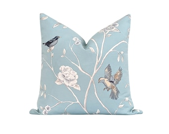 Double Sided Floral Pillow Cover, Blue, White Floral Pillow Cover, Bird Floral Pillow Cover, Blue Grey White Linen Pillow Cover, Euro Sham
