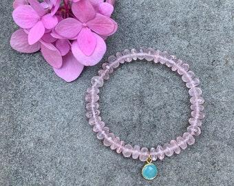 Pink Quartz Stretch Bracelet with Chalcedony Charm
