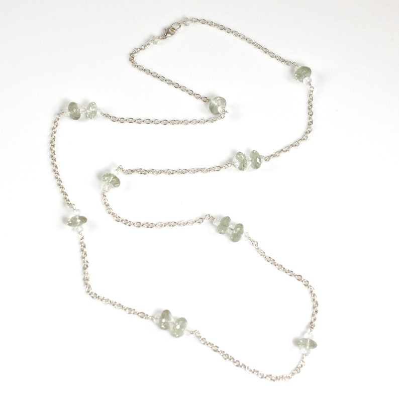 Rock Quartz and Green Amethyst Sterling Silver Long Necklace image 0