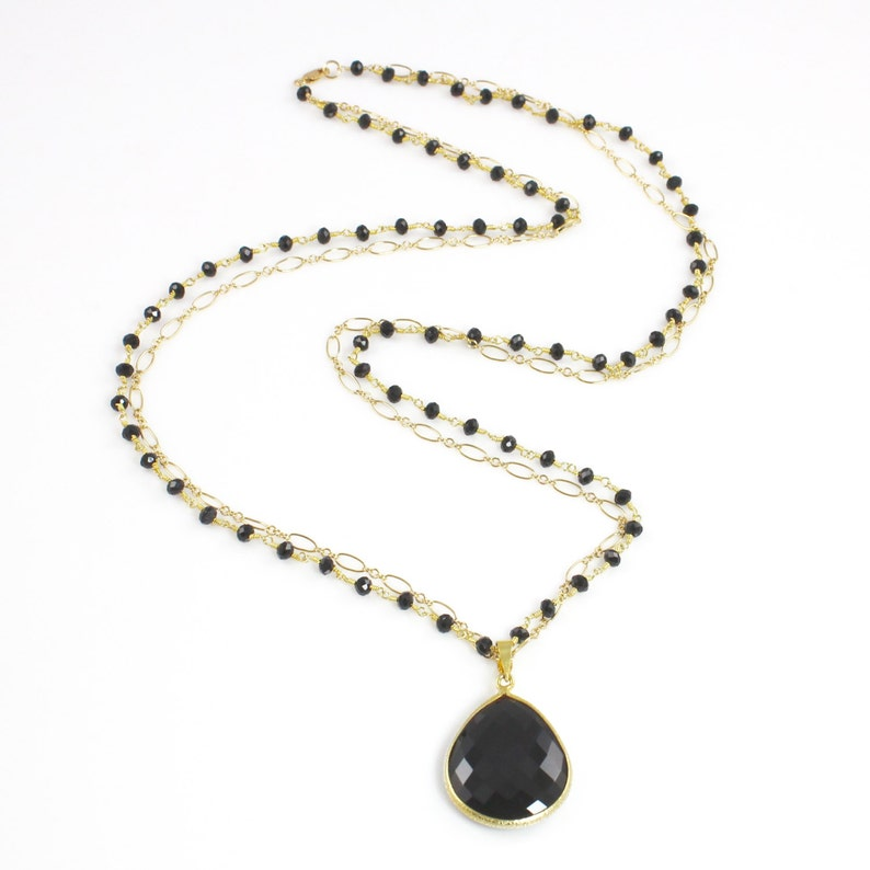 Large Black Spinel Pendant Double Strand Long Necklace image 0