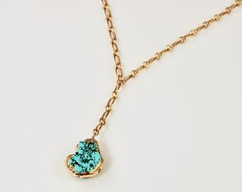 Turquoise Pendant Lariat Necklace