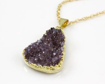Purple Druzy Pendand Necklace on 14 karat Gold Filled Chain