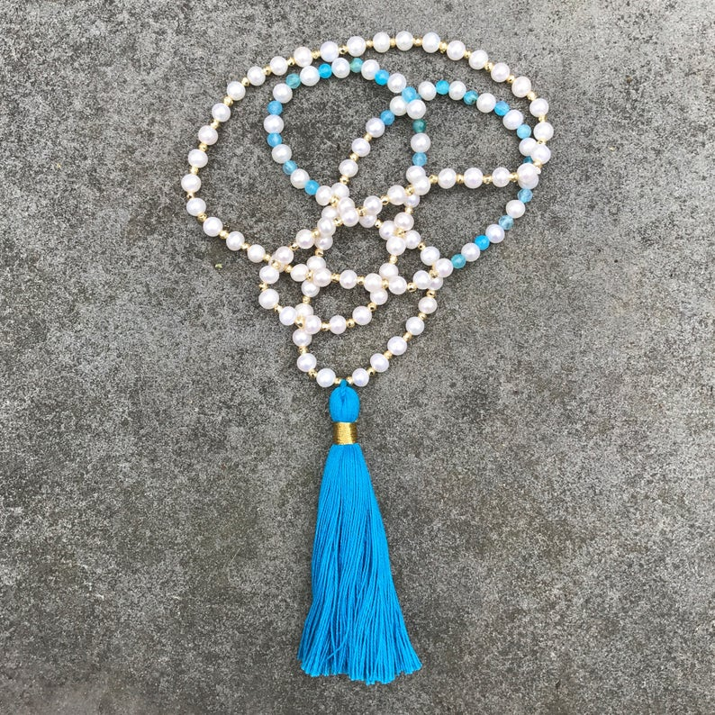 Long Beaded Blue / Aqua Tassel Necklace with Pearls Blue image 0