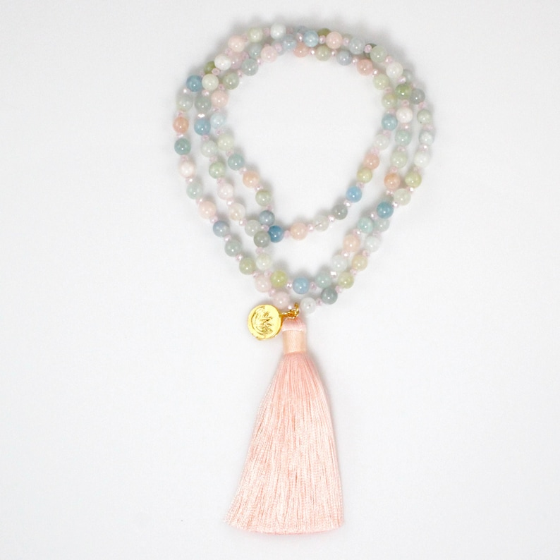 Pastel Color Beaded Long Tassel Necklace image 0