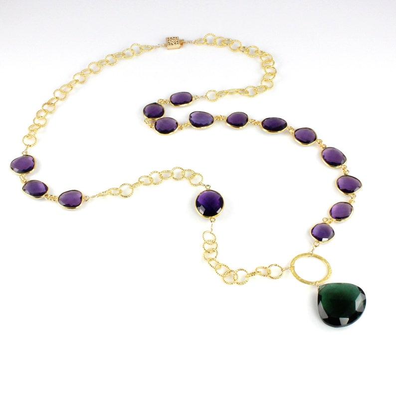 Large Emerald Quartz Pendant Necklace with Amethyst Quartz image 0