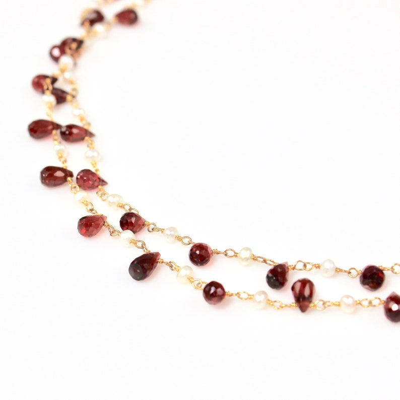 Garnet and Pearl Double Strand Necklace image 0