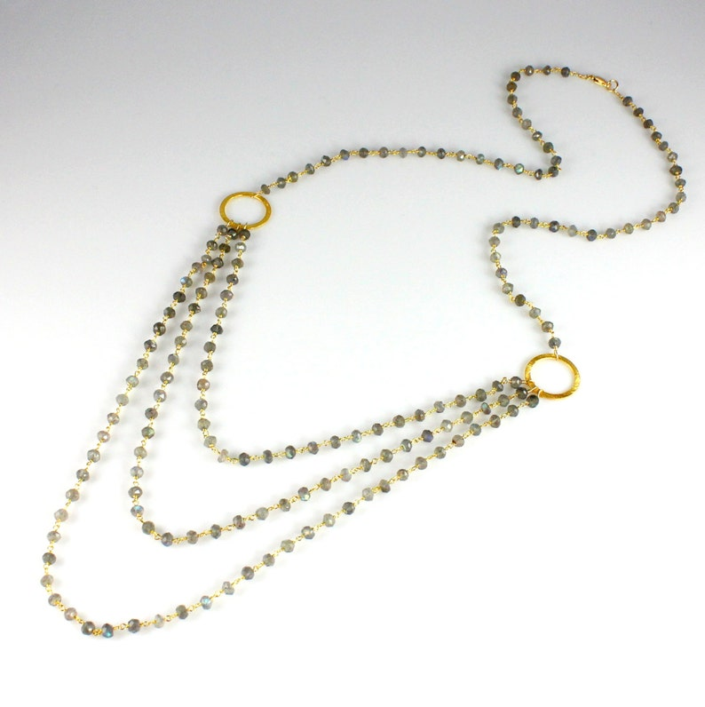 Triple Strand Labradorite Chain Necklace image 0