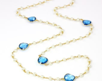 Long Pearl Necklace with Faceted Swiss Blue Quartz Gemstones