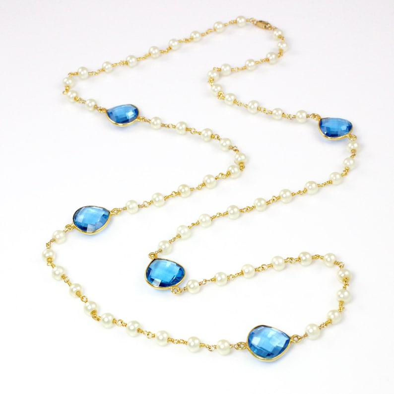 Long Pearl Necklace with Faceted Swiss Blue Quartz Gemstones image 0