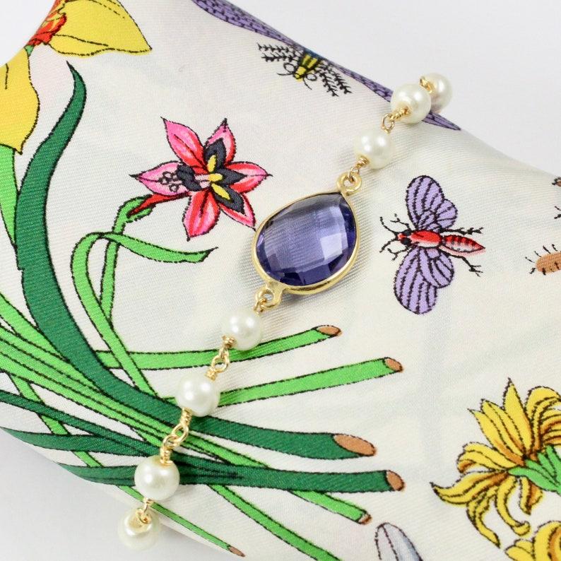 Purple Quartz Pearl Bracelet image 0