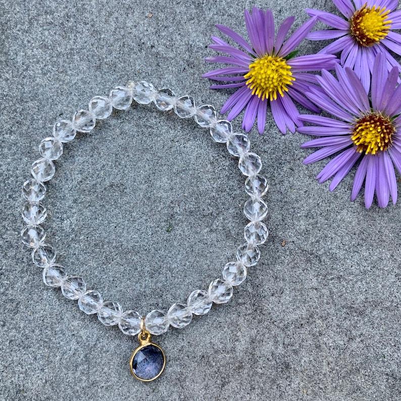 Crystal Quartz Stretch Bracelet with Lavendar Quartz Charm image 0