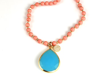 Long Coral Beaded Necklace with Large Blue Chalcedony Quartz Pendant