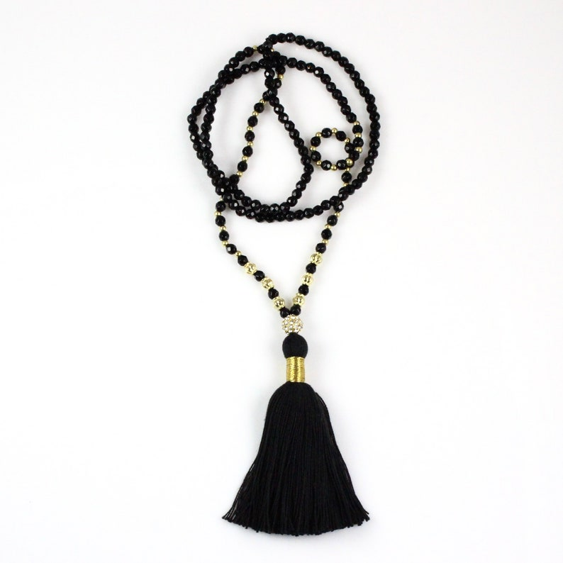 Black Onyx Beaded Tassel Necklace with Gold Accents image 0