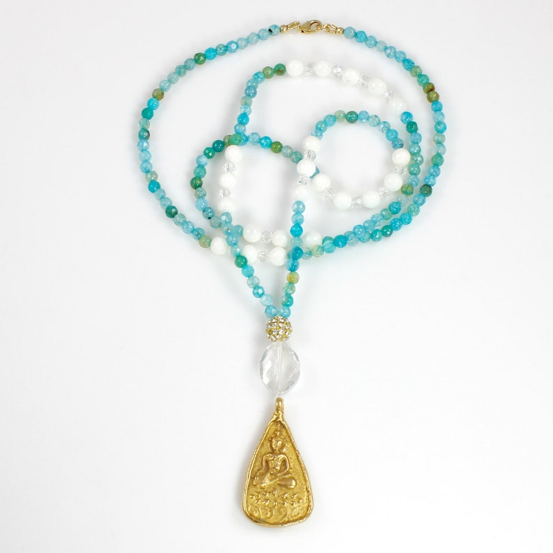 Beaded Long Necklace with Buddha Pendant image 0