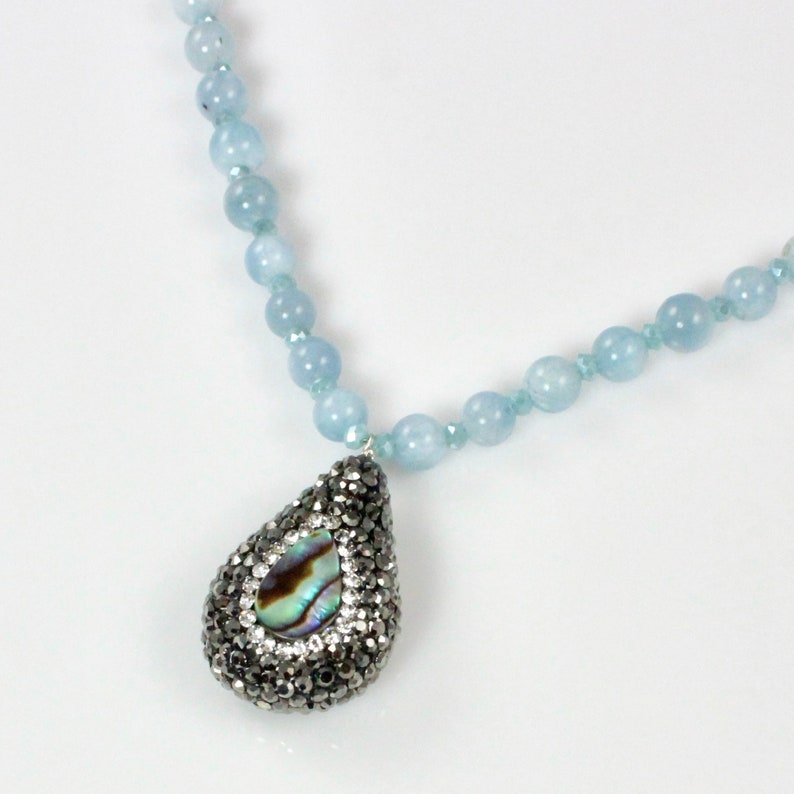 Aquamarine Beaded Necklace with Crystal and Abalone Pendant image 0
