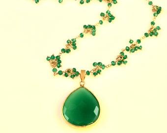 Green Onyx Long Pendant Necklace