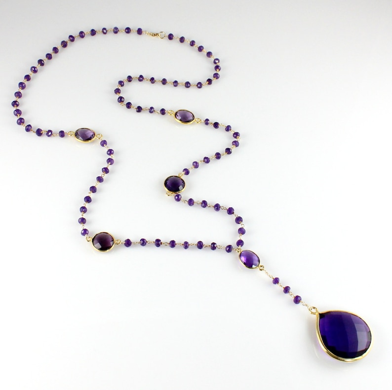 Amethyst Quartz Drop Pendant Necklace Purple Gemstone Necklace image 0
