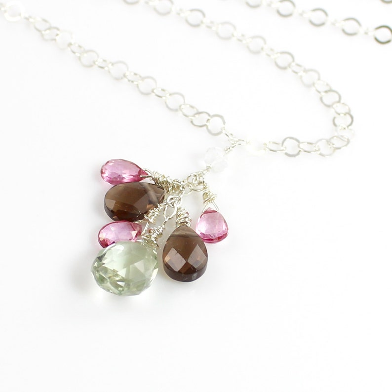 Cluster Gemstone Sterling Silver Necklace with Pink Topaz image 0