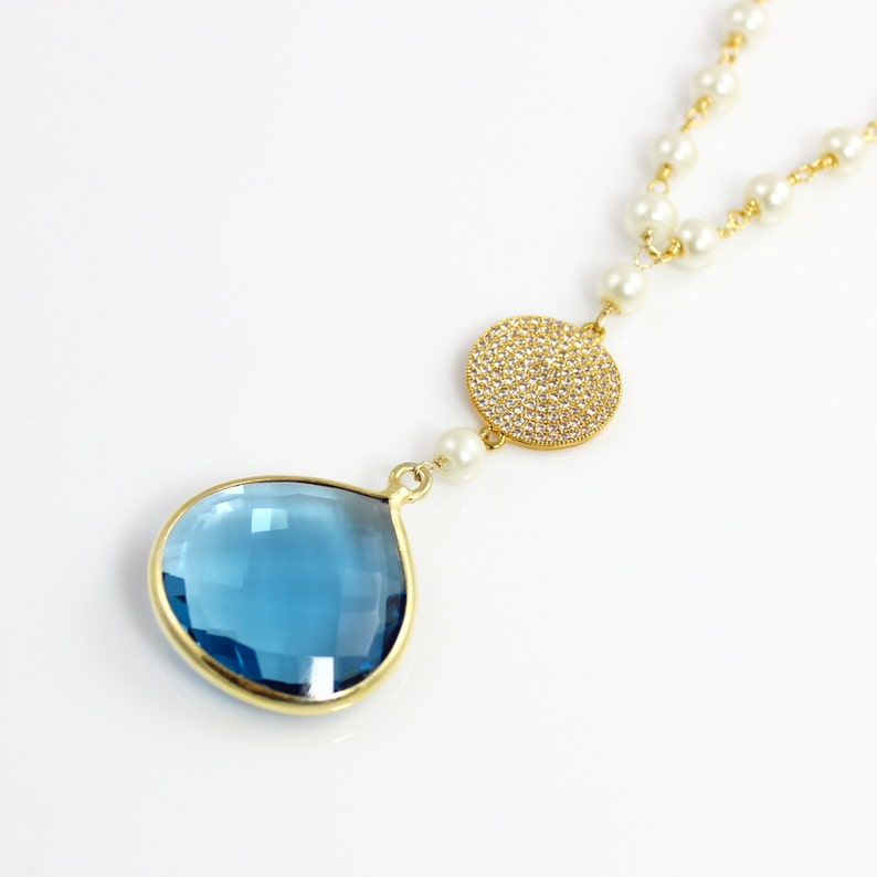 Blue Quartz Pendant Necklace with Pearl Chain and Pave CZ image 0