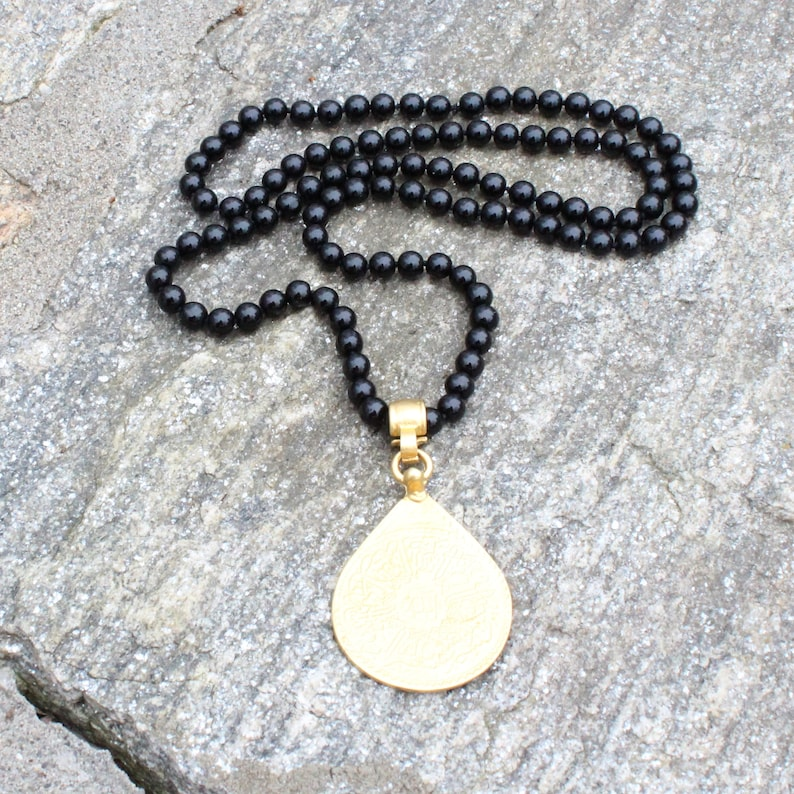Black Onyx Beaded Necklace with Large Gold Pendant image 0
