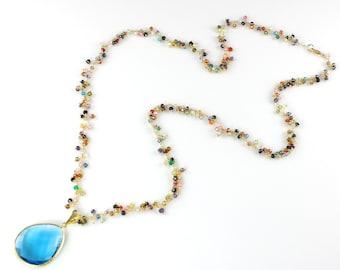 Large Blue Quartz Pendant and Semi Precious Gemstone Necklace