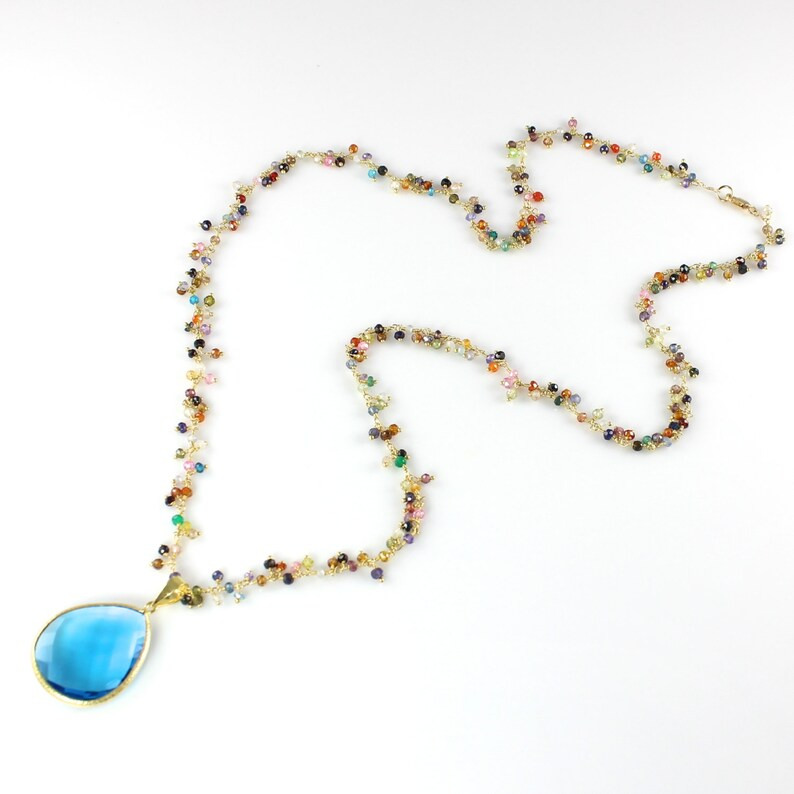 Large Blue Quartz Pendant and Semi Precious Gemstone Necklace image 0