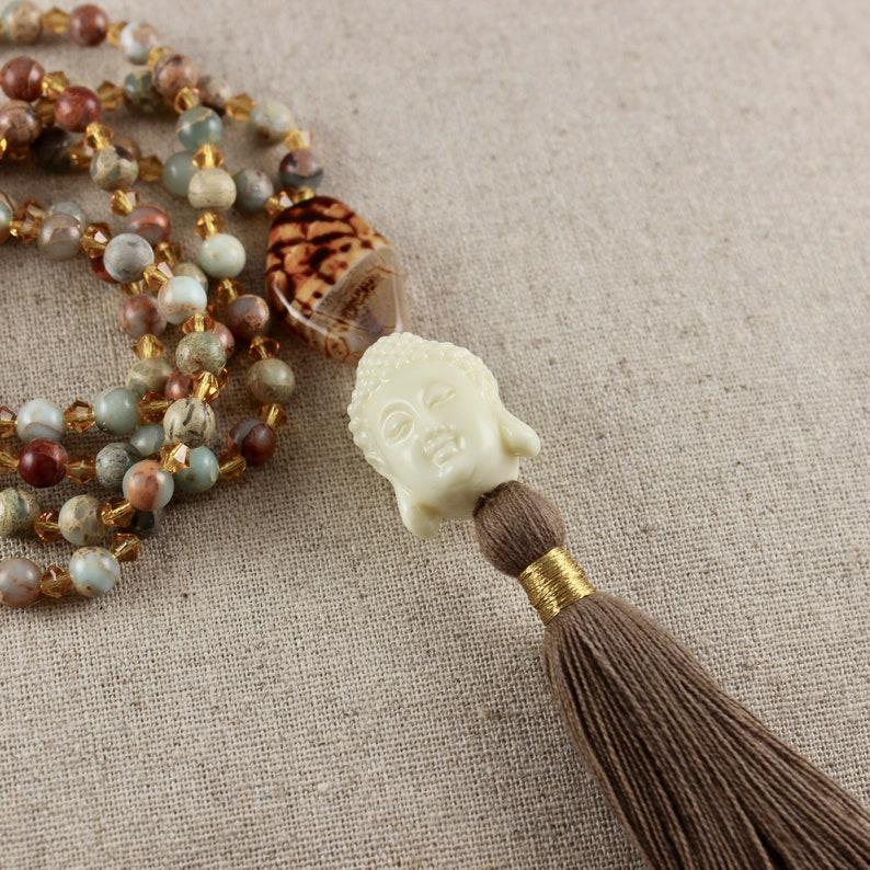 Beaded Buddha Long Tassel Necklace image 0