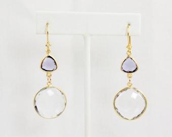 Rock Crystal and Tanzanite Quartz Large Drop Earrings
