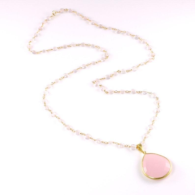 Pink Chalcedony and Rose Quartz Pendant Necklace image 0