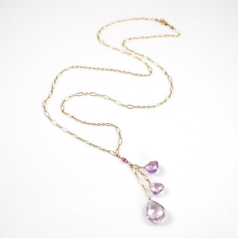 Pink Amethyst Triple Pendant Long Necklace image 0