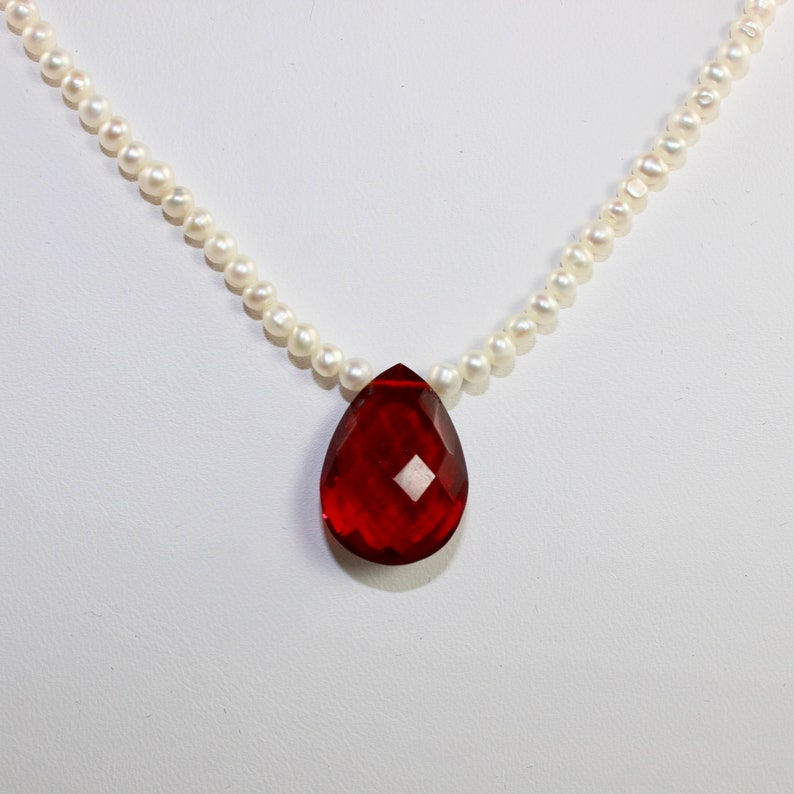 Pearl Necklace with Red Quartz Pendant image 0
