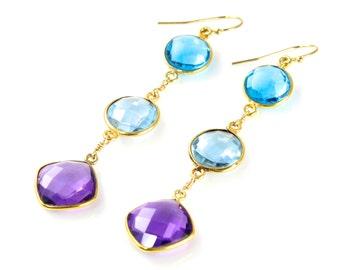 Blue and Purple Quartz Dangle Earrings