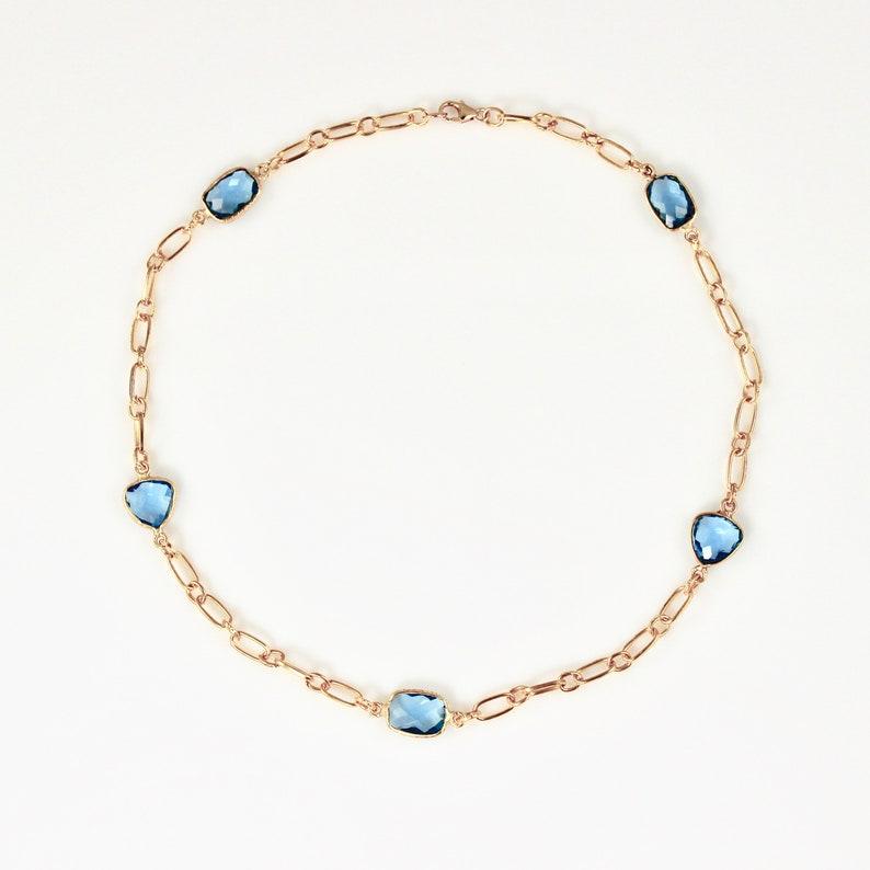 Blue Quartz and Gold Short Necklace image 0