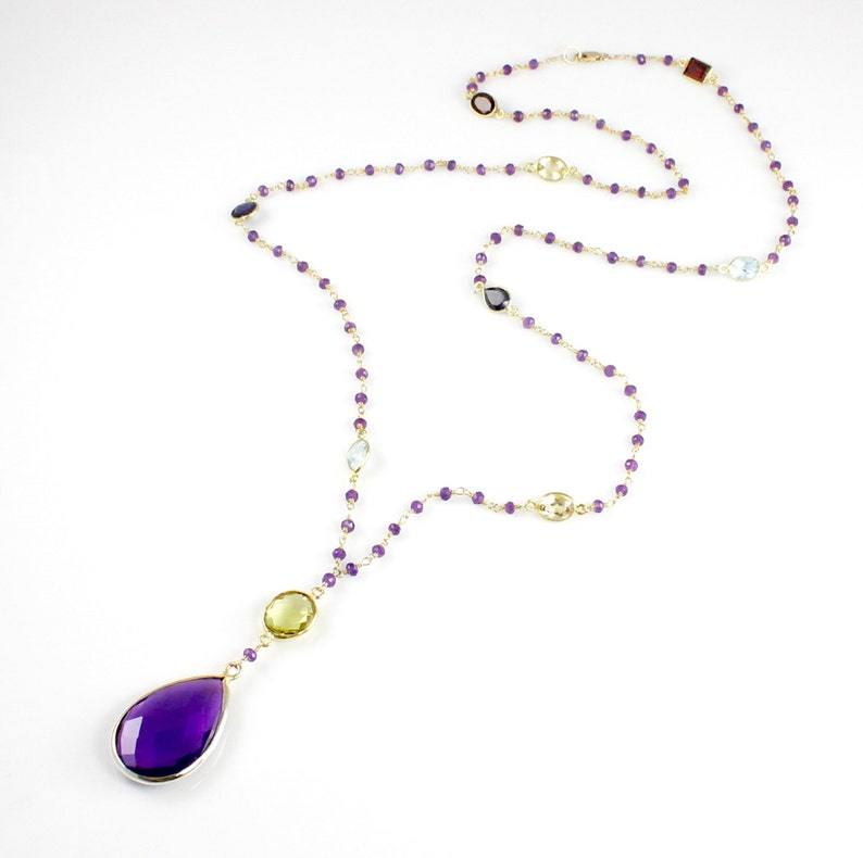 Amethyst Quartz Pendant Necklace image 0